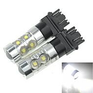 2x 3157  P27 W2.5X16Q 50W 10xCREE Cold White 3100LM 6500K for Car  Brake Light (AC/DC12V-24)