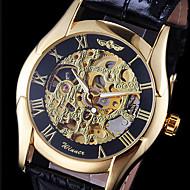 WINNER Męskie Zegarek na nadgarstek zegarek mechaniczny Nakręcanie automatyczne Grawerowane Skóra Pasmo Czarny Gold