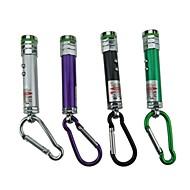 2 en 1 led de aluminio láser rojo verde de plata negro de color púrpura 1pcs luz llavero