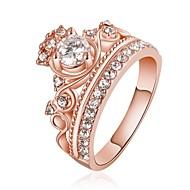Pierścionki dla par Kamienie zodiakalne Kryształ Kryształ górski Pozłacane Imitacja diamentu 18K złoty Stop Crown Shape Rose Golden