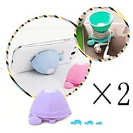 [2-PCS]Lovely Cartoon Tortoise Silicone Holder for iPhone/iPad and Others(Random Color)