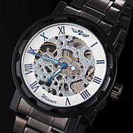WINNER 男性 スケルトン腕時計 機械式時計 透かし加工 手巻き式 ステンレス バンド ブラック