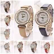 Women's  Love the Key Diamante   Dial Gridding Leather Quartz Wristwatches  (Assorted Color)C&d161