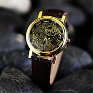 Men's Double Hollow Boutique Watch  Circular Leather  Automatic Mechanical Watches(Assorted Colors) Wrist Watch Cool Watch Unique Watch