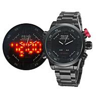 Analog-digital - Quartz - Militærklokke - til Herre (LED/Kalender/Vannresistent/alarm)
