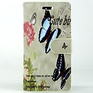 Butterfly Flower PU Leather Full Body Wallet Protective Case with Stand and Card Slot For Sony Xperia M2 S50H