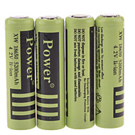 Power 4.2V 5200mAh 18650 Rechargeable Lithium Ion Battery(4pcs)