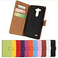 LGのG3用スタンド(アソートカラー)とソリッドカラーのスタイリッシュな本物のPUレザーフリップカバー財布カードスロットケース