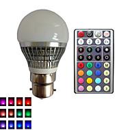 1 pcs SchöneColors® B22 4 W 1X High Power LED Dimmable/32Keys Remote-Controlled/Decorative RGB LED Globe Bulbs AC85-265V