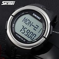 Masculino Relógio Esportivo Quartzo Japonês LCD / Pulsômetro / Calendário / Cronógrafo / Impermeável / alarme Borracha Banda Preta marca-