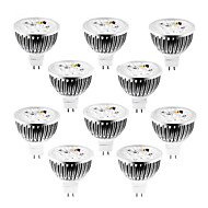 10pcs dimmable MR16 4W 4x1W 400lm blanc chaud / blanc blanc / froid led spot lumineux lampe 12v