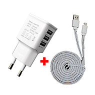 Cwxuan™ 3A 5V 3-Port USB EU Plug Charger with 2m Micro USB Data Cable for Samsung S3/4/5/6/ HTC and Others