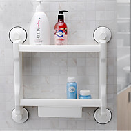 Powerful Sucker Bathroom /kitchen Storage Rack/Shelf Two Layers With Drawer