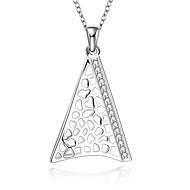 Dame Kort halskæde Halskædevedhæng Vedhæng Geometrisk form Sølv Zirkonium Kvadratisk Zirconium Ædelsten Mode Hvid Smykker ForBryllup Fest