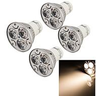 3W GU10 Focos LED 3 LED de Alta Potencia 240 lm Blanco Cálido Decorativa AC 85-265 V 4 piezas