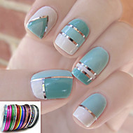 12PCS Mixs Color Coil Line Nail Stripe Tape Nail Art Decoration Sticker