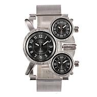 Oulm Heren Militair horloge Polshorloge Kwarts Japanse quartz Drie tijdzones Roestvrij staal Band Zilver Zilver