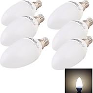 6PCS YouOKLight®E14 4W CRI=80 300lm 3000K 6-SMD5730 Warm White Light LED   Ceramic Candle Bulbs(85~265V)