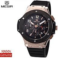 megir®chronograph 24 timer vanntett menns sportsklokke silikon luksus watch menn merkevare hæren watch (assorterte farger)
