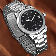 einfache Silber-Legierung Band diamond runden Zifferblatt Quarz Wasserdichte Armbanduhr Paares