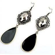 Viseće naušnice Bohemia Style Dragi kamen Kubični Zirconia Legura Ispustiti Crn zaslon u boji Jewelry Za 2pcs