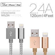 Fonemax® MFi Certified 8 Pin USB Sync Data/Charging Weave Fabric Cable for iPhone 5/5S/6/6 Plus/iPad/iPod (120cm)