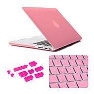 color sólido moler caso del macbook arenisca con tapones cubierta del teclado y anti-polvo para el macbook retina 13,3 pulgadas