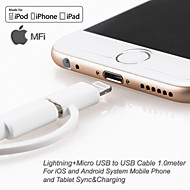 yellowknife Apple MFi Certified Lightning+Micro USB Data Sync and Charger Cable for iphone 6S iOS and Android (100cm)