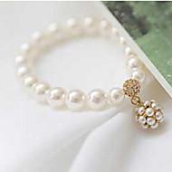 女性用 ストランドブレスレット ベーシック あり Elegant 結婚式 真珠 ボール型 ホワイト ジュエリー のために 結婚式 パーティー 日常 1個