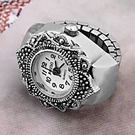 Tibetan Style Round Shaped Quartz Personalized Ring Watch(Silver)(1Pc)