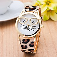 Cat Watch With Glasses Women Quartz Watches Reloj Mujer Relogio Feminino Leather Strap Watch