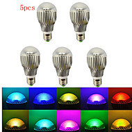 5pcs HRY® E27 5W RGB LED Lamp Light Bulb+IR Remote Control(85-265V)