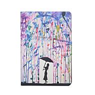 pintar padrão de chuva estojo de couro pu com protetor de tela e caneta para iPad mini 1/2/3