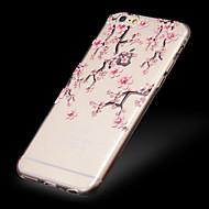 fersken blomstre mønster TPU lettelse tynn gjennomsiktig diamant lime bakdekselet sak for iPhone 6 / 6s