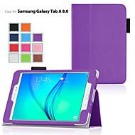 Para Samsung Galaxy Capinhas Com Suporte / Flip Capinha Corpo Inteiro Capinha Cor Única Couro PU Samsung Tab A 9.7 / Tab A 8.0