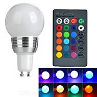 1개 GU10 3 W 1 고성능 LED 130 LM RGB 리모컨 작동 글로브 전구 AC 85-265 V