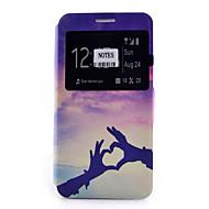 For Samsung Galaxy Note Kortholder Med stativ Med vindue Flip Mønster Etui Heldækkende Etui Hjerte Blødt Kunstlæder for SamsungNote 5