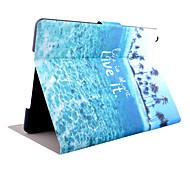 kokosnød træ mønster pu materiale flip tablet beskyttende skal til iPad luft