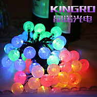 King Ro Solar Outdoor String Lights 19.7ft 30 LED Crystal Ball Solar Powered Globe Fairy Lights
