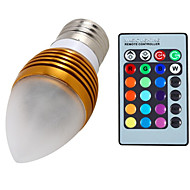 5W E26/E27 Luces LED en Vela A60(A19) 3 LED Integrado 400 lm RGB Regulable / Control Remoto / Decorativa AC 85-265 V 1 pieza