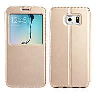 のために Samsung Galaxy ケース ウィンドウ付き / フリップ ケース フルボディー ケース ソリッドカラー PUレザー Samsung S6 edge plus
