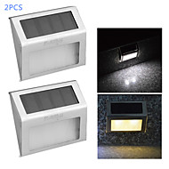 youoklight® 2pcs 0.2W 2-led caldo controllo luce bianca lampada bianca / parete solare - argento