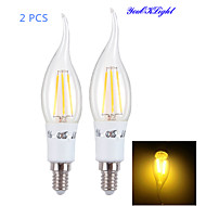 YouOKLight® 2PCS E14 4xCOB 4W 400LM Warm White Edison long tail Candle Bulbs LED Filament/chandelier Light(AC85-265V)