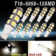 10 X Warm White 13SMD 5050 T10 RV Reverse LED Lights W5W 2825 158 192 168 12V