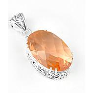 mode frem vintage oval Morganite perle 925 sølv femtakkede stjerne vedhæng til halskæder til bryllup daglig 1pc