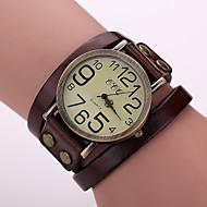 Dames Modieus horloge Armbandhorloge Kwarts Leer Band Vintage Zwart Wit Blauw Rood Orange Bruin Groen Koffie Bruin Rood Groen Blauw