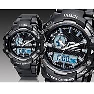 OHSEN 남성 아가씨들 남여공용 스포츠 시계 손목 시계 LED 달력 크로노그래프 방수 디지털 고무 밴드 블랙