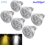 Youoklight® 6pcs mr16 4w dimmable 4-led spotlight branco quente / luz branca fria 3000 / 6000k 320-350lm (dc 12v)
