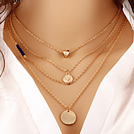 Women's Layered Necklaces Round Heart Gold Plated Adjustable Sideways Heart Multi Layer Fashion Gold Jewelry ForThank You Gift Daily Office & Career