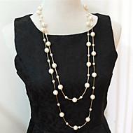 Damskie Pasemka Naszyjniki Warstwy Naszyjniki Perlový náhrdelník Perłowy Imitacja pereł Wielowarstwowy Silver Golden Biżuteria NaŚlub